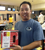 John Louis – Winner of the bowling ball raffled to the SVG Nikkei Mixed League on October 12, 2012